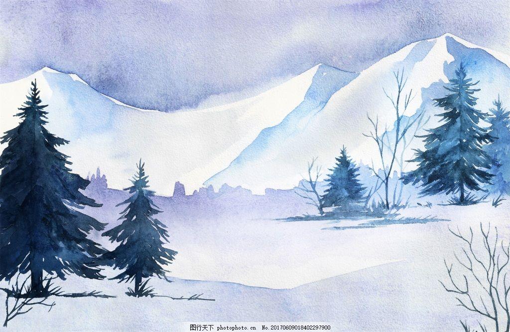 松树水彩画冬季森林河边矢量素材图片