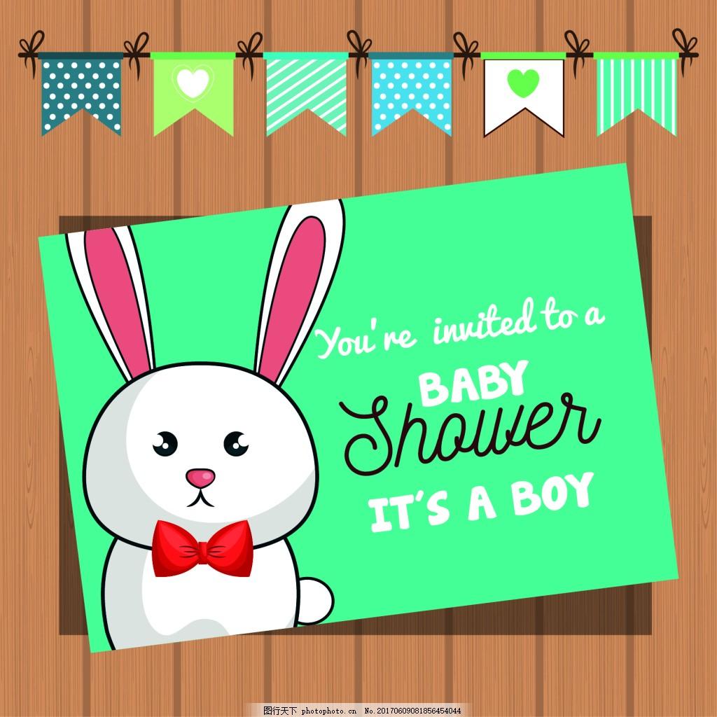 呆萌的兔子 彩旗 卡通 可爱 呆萌 动物 兔子 蝴蝶结 小白兔