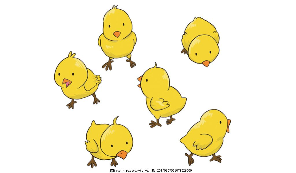 手绘卡通小鸡 可爱 小黄鸡