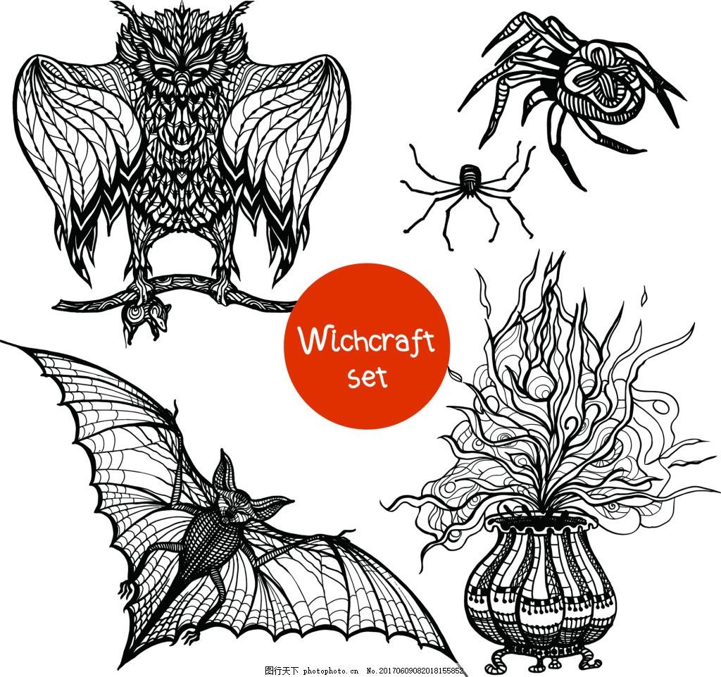 蝙蝠猫头鹰纹身图案矢量