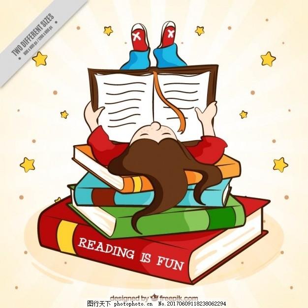 手绘女孩读书的背景 书籍 教育 世界 儿童 创意 绘画 学习 图书馆