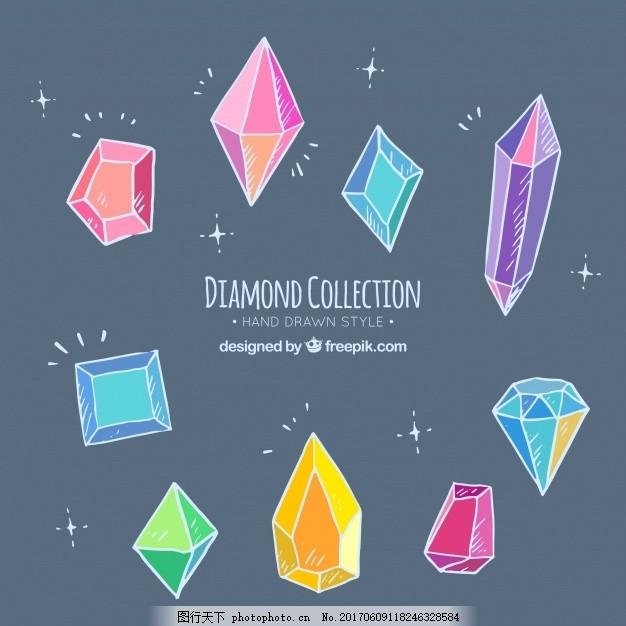 手绘彩色钻石系列 一方面 几何 形状 奢侈品 绘画 色彩 首饰