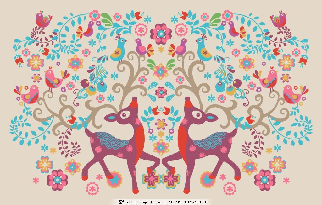 小鹿动物图案矢量素材 花朵 卡通 小动物 服装 印刷 装扮 装饰 插画