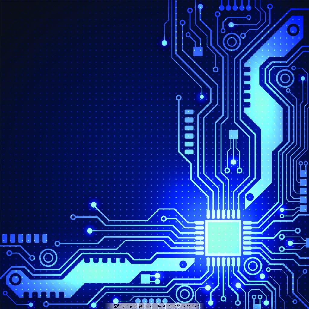 科技电路板ppt背景eps矢量素材 蓝色 电脑 卡通