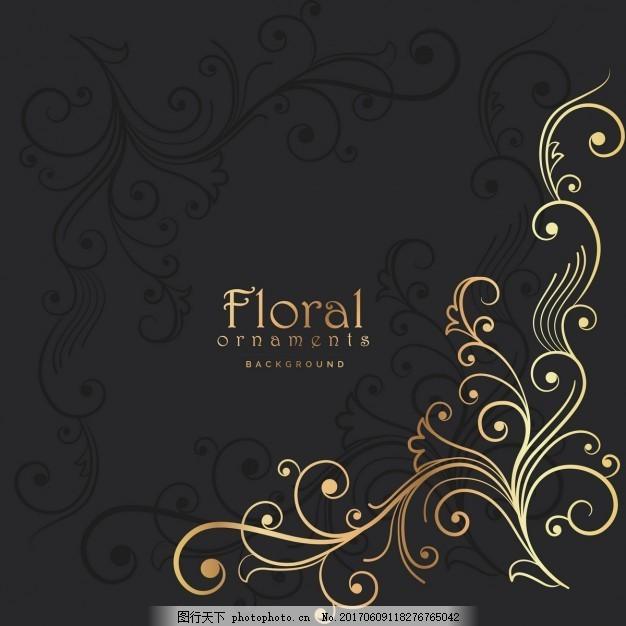 金色和黑色的背景 花卉 婚礼 古董 标签 黄金 邀请 抽象 装饰