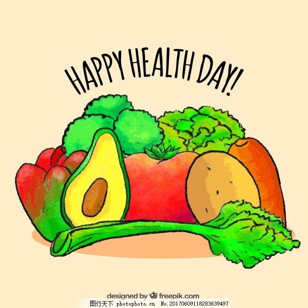 美味蔬菜和手绘水彩水果的背景