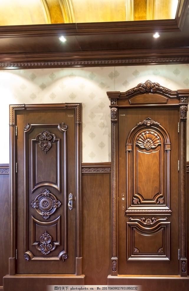 欧式雕花原木门 门头 门楣 海中玉 摄影 建筑园林 室内摄影
