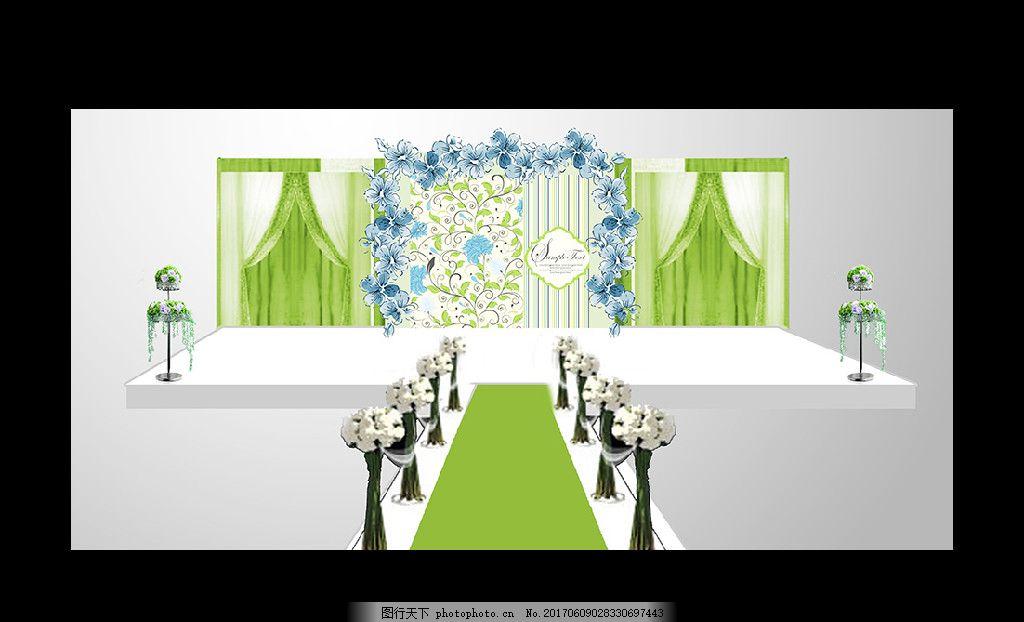 梦幻主题婚礼 绿色主题 森林婚礼 童话婚礼舞台 迎宾区设计 喷绘设计