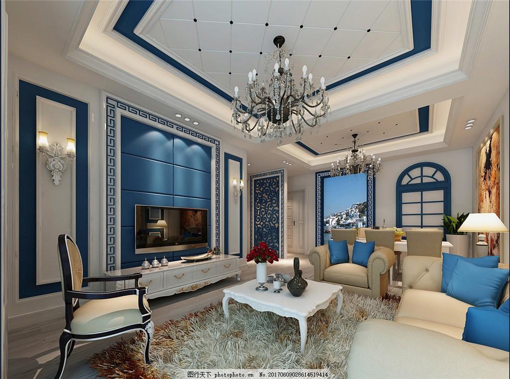家装效果图 现代装修效果图 时尚 奢华 设计素材 室内装修 地中海风格图片