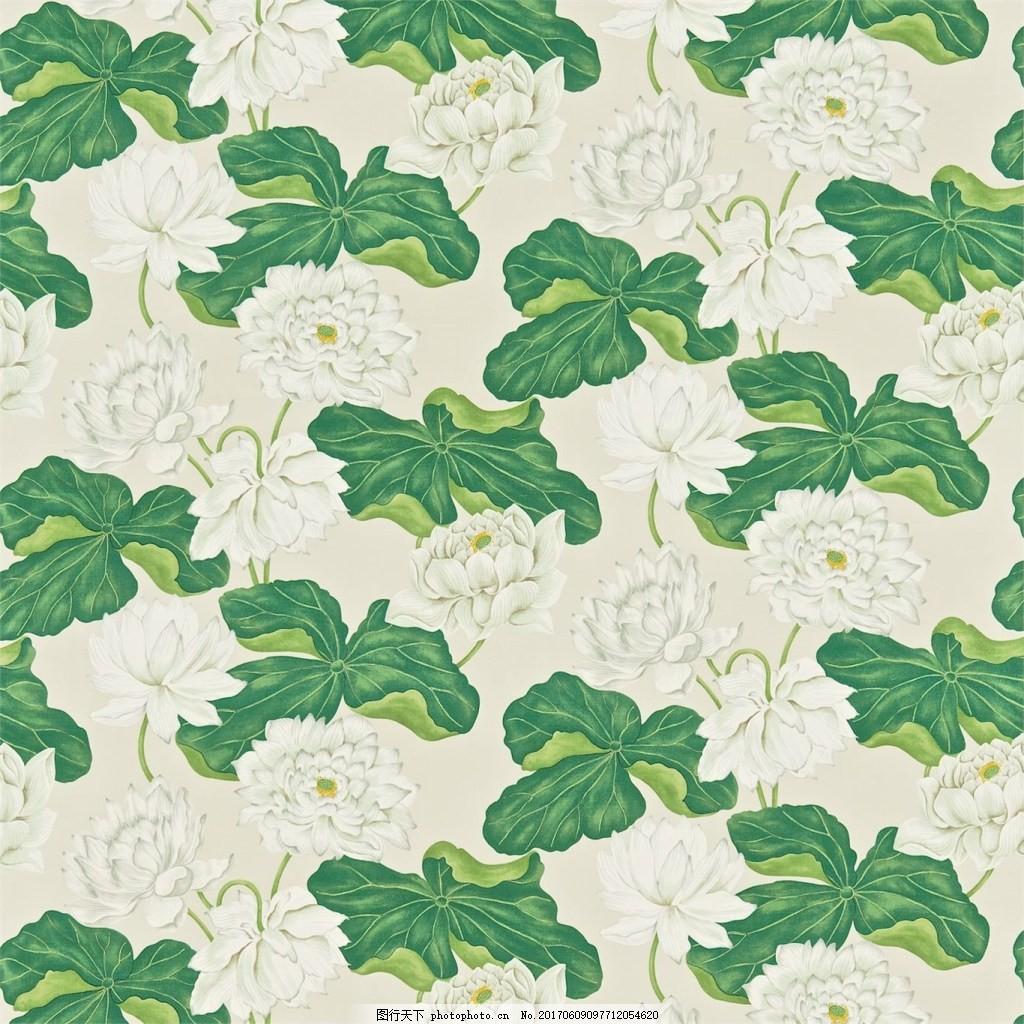 白色荷花莲叶图案壁纸 中式花纹背景 壁纸素材 无缝壁纸素材 欧式花纹