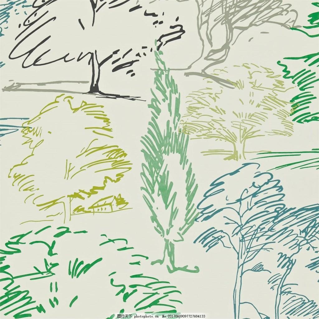 彩色手绘涂鸦树木壁纸素材
