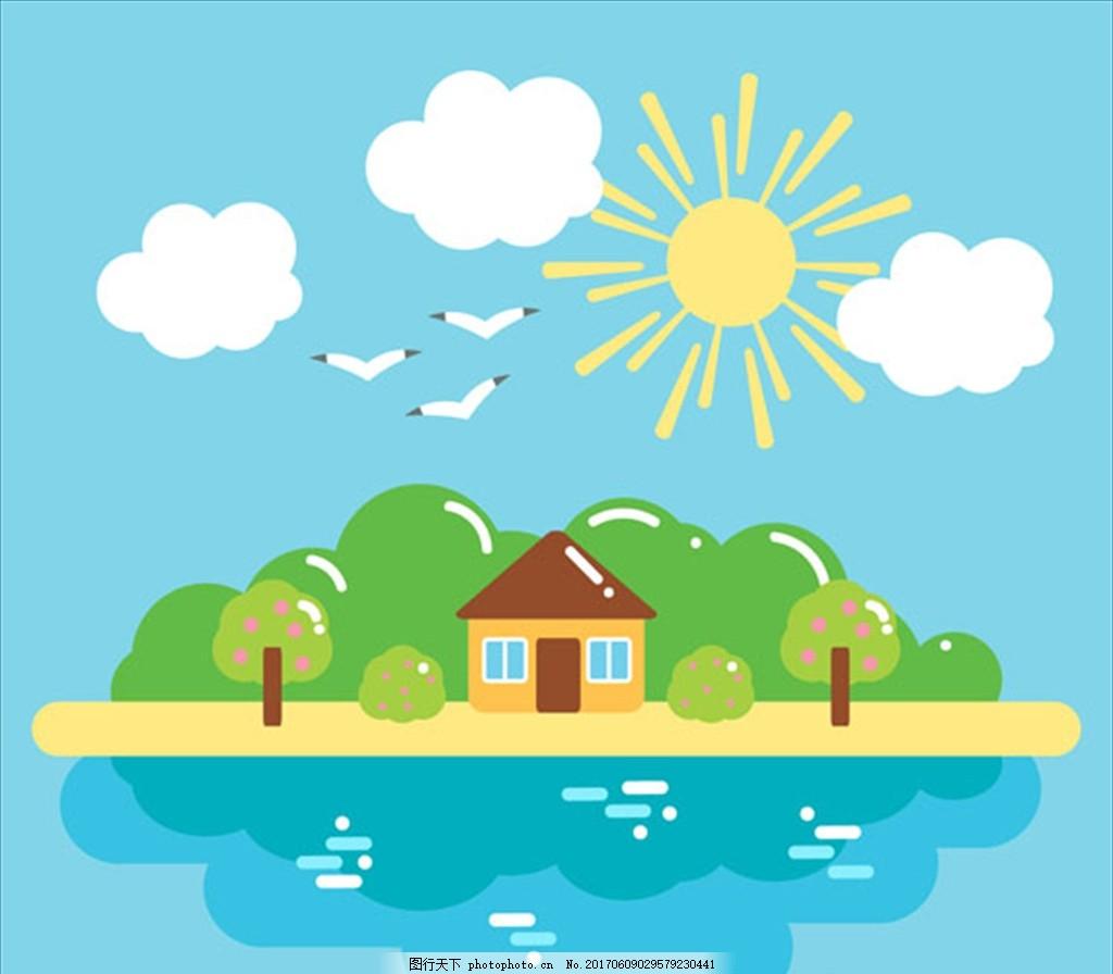 扁平化夏季自然景观背景