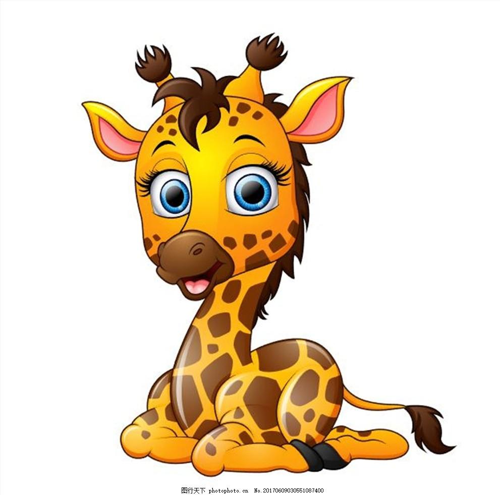 卡通动物 可爱 矢量 卡通羊 动物 卡通长颈鹿 长颈鹿 梅花鹿 卡通
