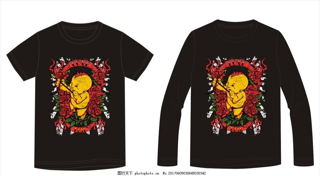 小孩 手绘小孩 卡通人物 弹弓 植物花朵花卉 花朵边框 骷髅类/外贸t恤
