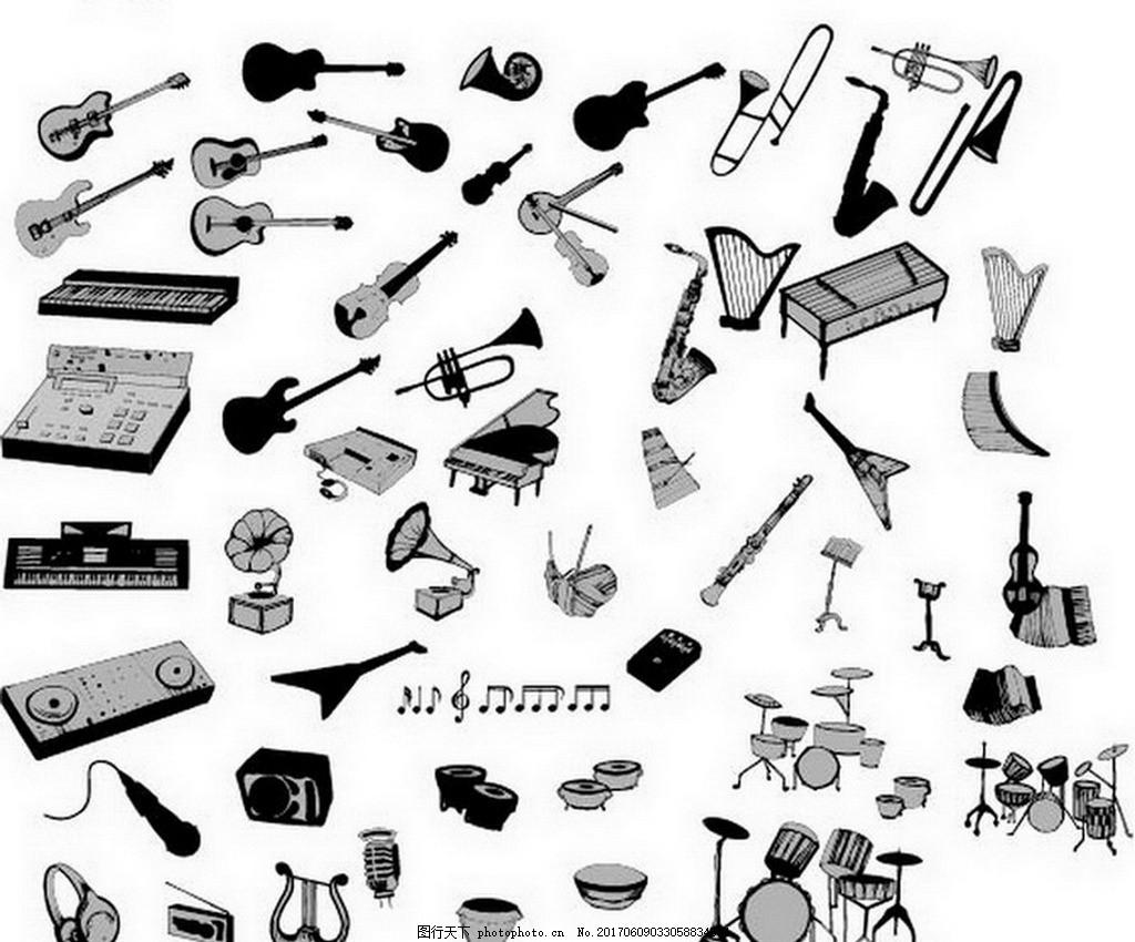 乐器图标素材 设计素材 设计元素 人物素材 吉他 音响 调音台