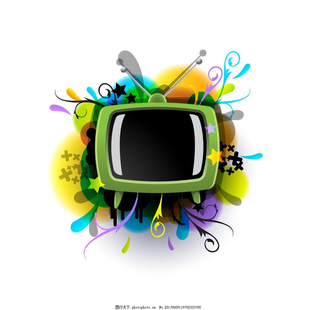 手绘电视花纹元素 卡通 绿色 边框 彩色 晕染 矢量