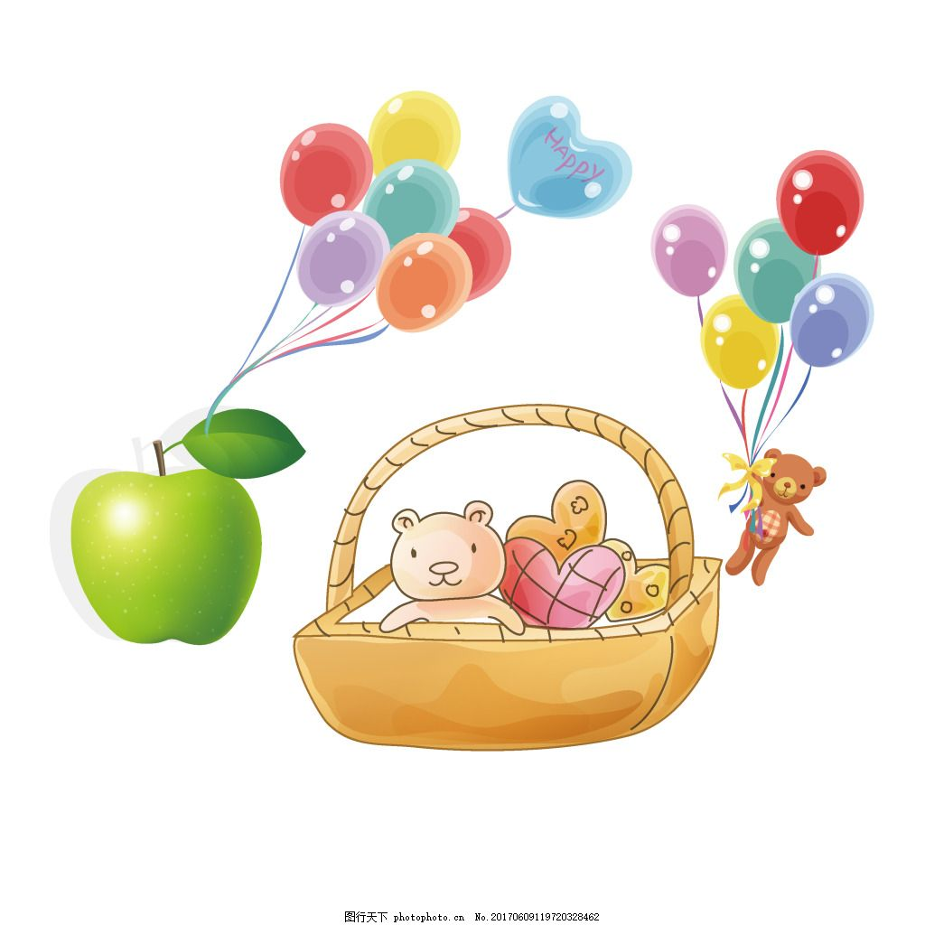 手绘水果气球元素 卡通 水果 彩色 气球 飘浮 菜篮 小熊 玩偶 元素