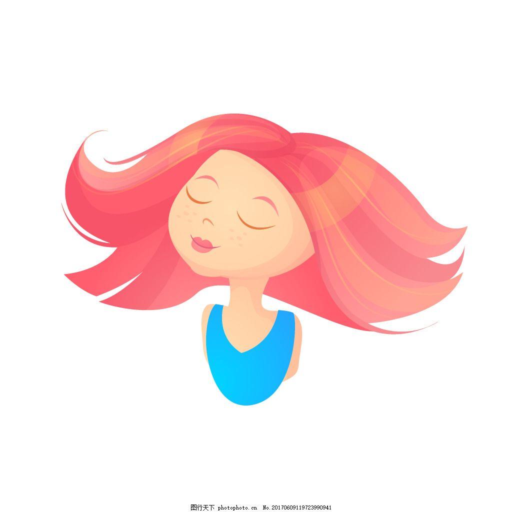 卡通人物元素 手绘 红头发 时髦 女郎