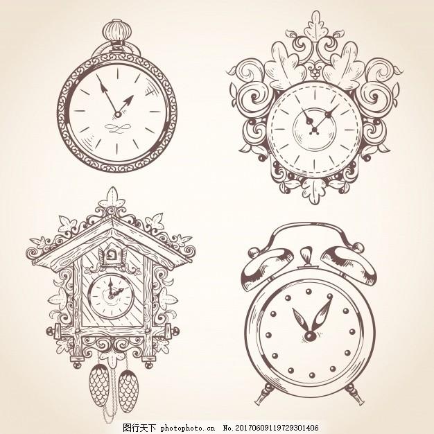 手绘钟表收藏 素描 闹钟 画 粗略 收集 设置 时钟