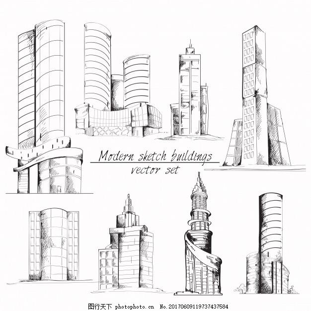 手绘建筑群 素描 现代 绘画 草图 收集 集合
