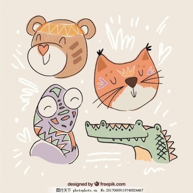 一套可爱的动物手绘民族风格,自然 猫熊 印度 绘画-图