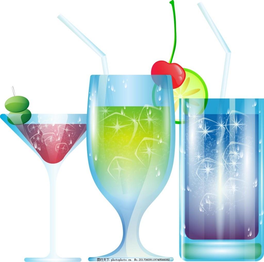 手绘彩色饮料元素 手绘 樱桃 饮料 冷饮 夏季 元素