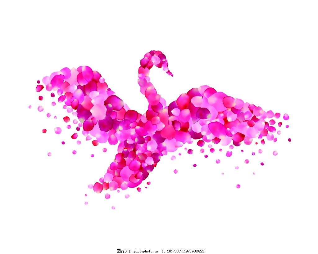 天鹅粉色玫瑰花瓣矢量海报设计素材 手绘 卡通 水彩 插画 创意