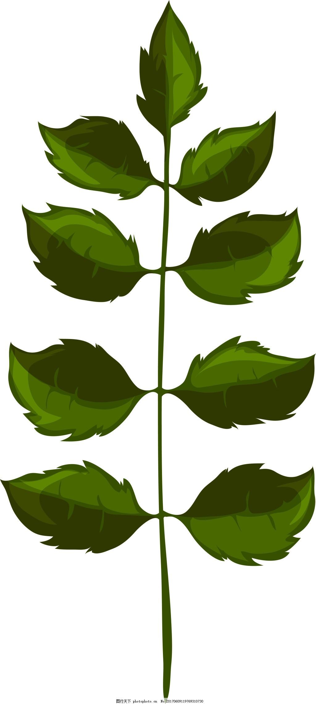 深色绿叶卡通植物矢量素材 深绿色 精致 水彩 手绘 装饰 图案