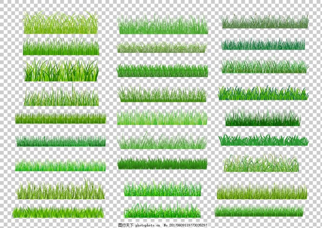 绿色草地装饰素材免抠png透明图层素材 绿草边框 鲜花 花草 蝴蝶