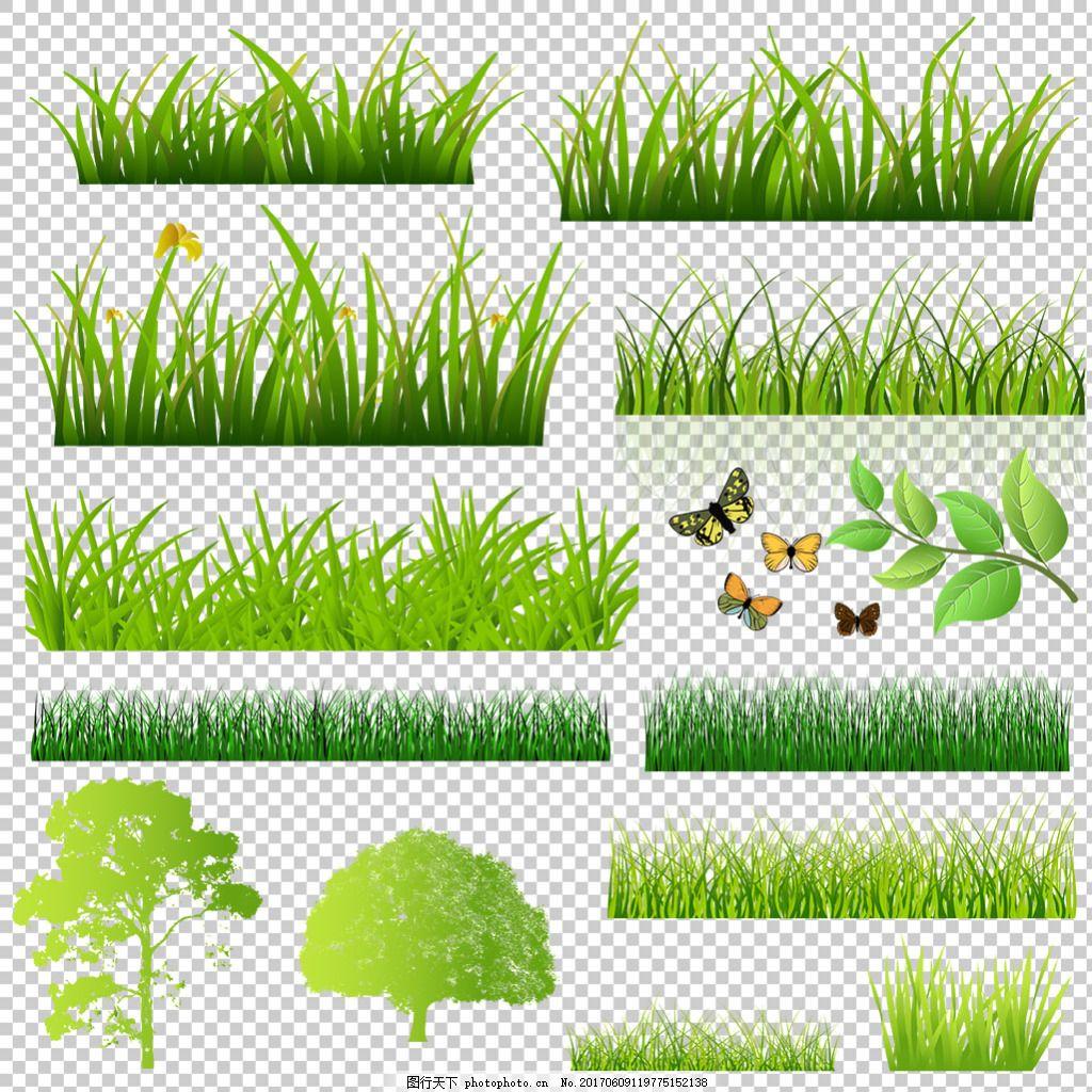 草地绿色素材免抠png透明图层素材 绿草边框 鲜花 花草 蝴蝶