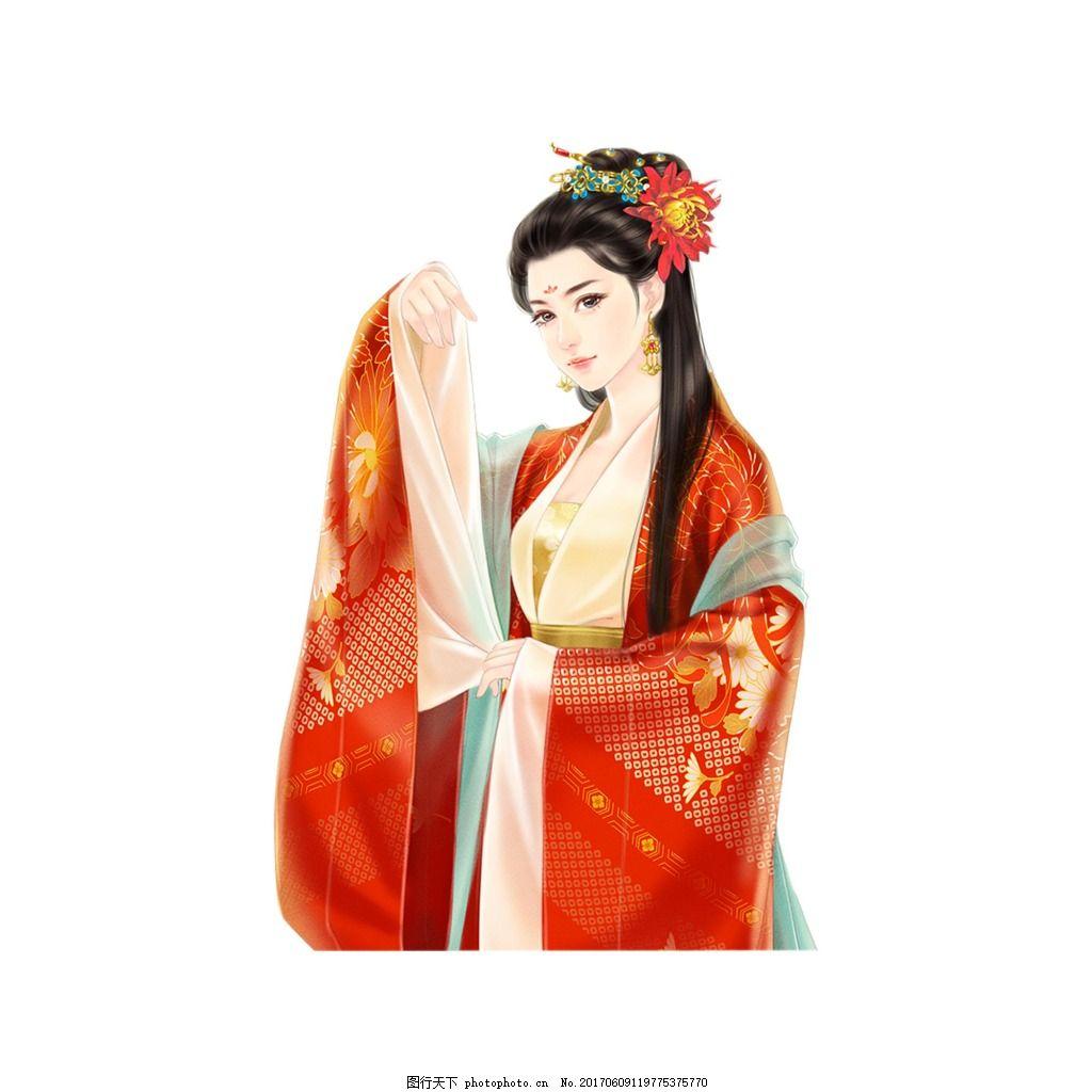 古代美女元素 手绘 唯美 红色 衣服