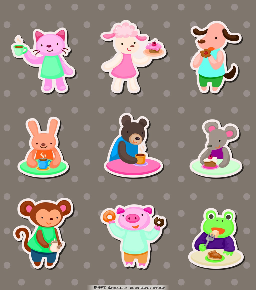 卡通小动物儿童卡通贴纸标签矢量
