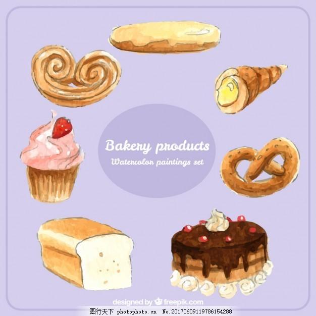 手绘烘焙产品包装 水彩 食品 蛋糕 面包 巧克力 咖啡 甜 糖果