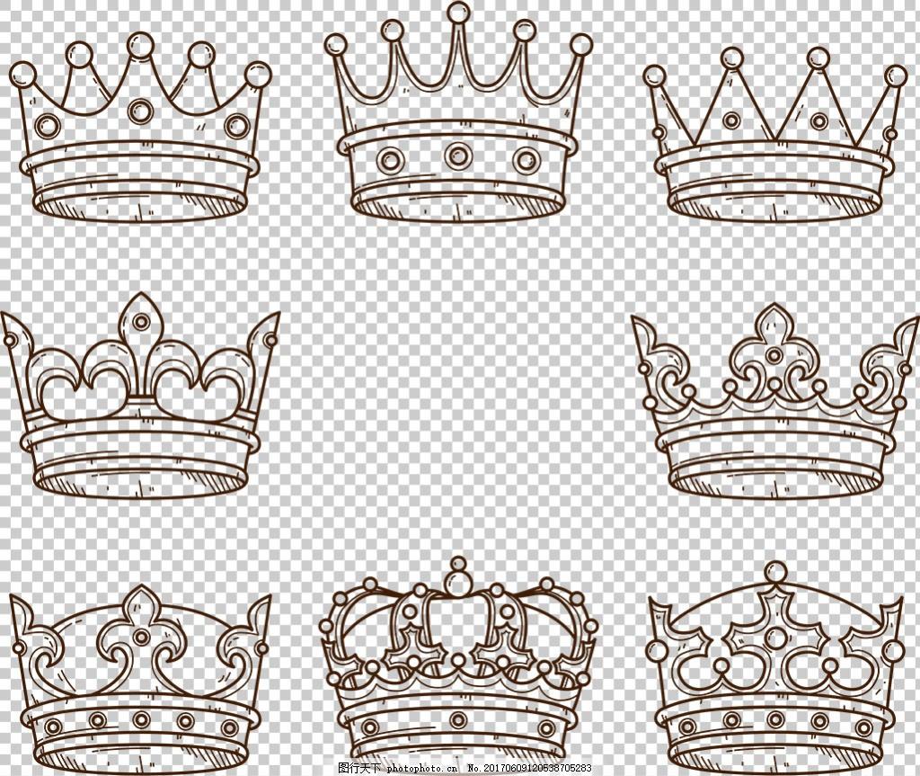 黑色皇冠图标免抠png透明图层素材