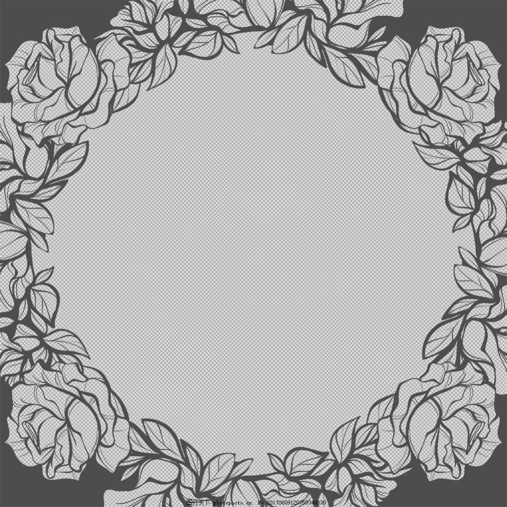 手绘花卉边框免抠png透明图层素材