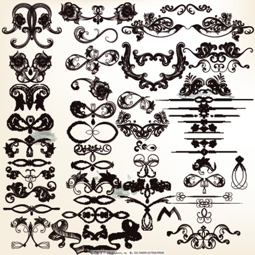 对角花纹黑白勾线装饰图案矢 欧式 古典 复古 花纹 花边 文本框 传统