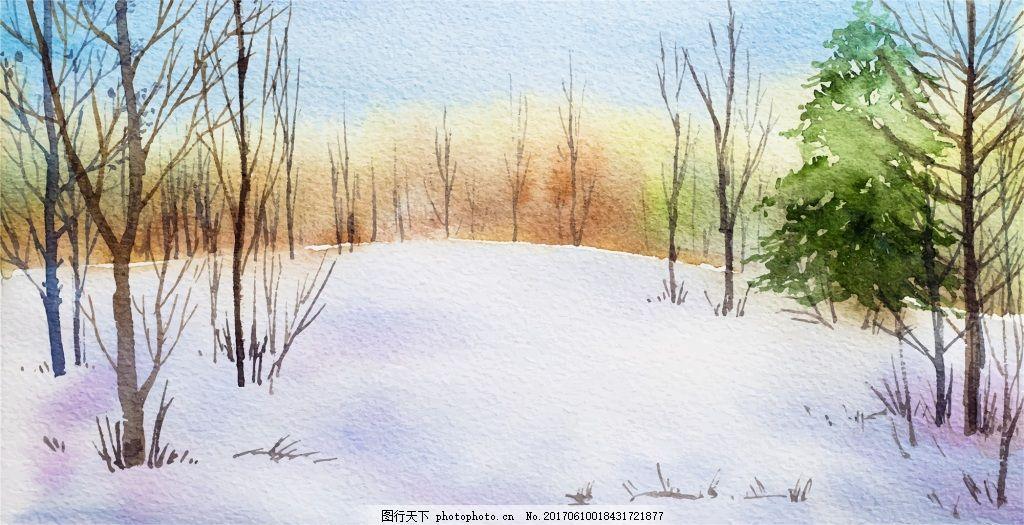 森林河边矢量素材 蓝天 枯树 水墨 远山 蓝色 卡通 冬季 山脉 风景