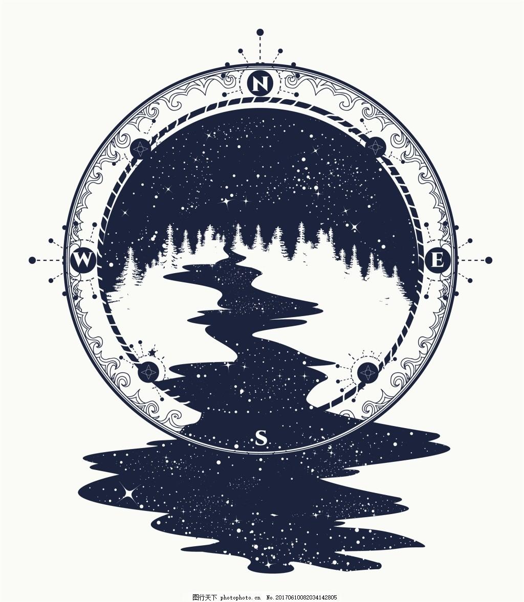 圆形森林纹身图案创意矢量