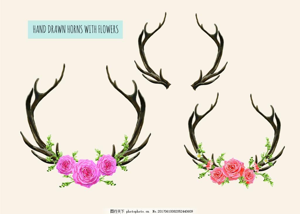 花朵森系鹿角小鹿手绘插画eps矢量素材