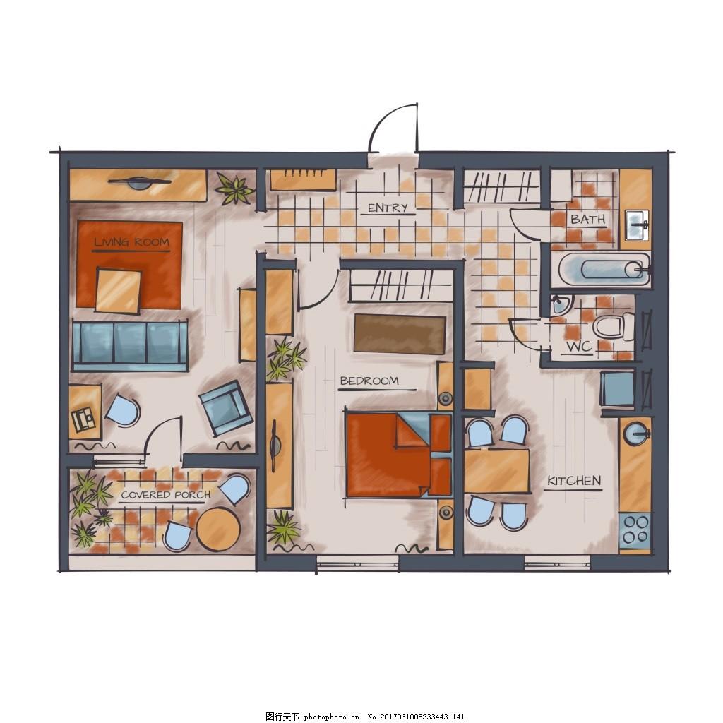 手绘出租房型家居装修布置矢量