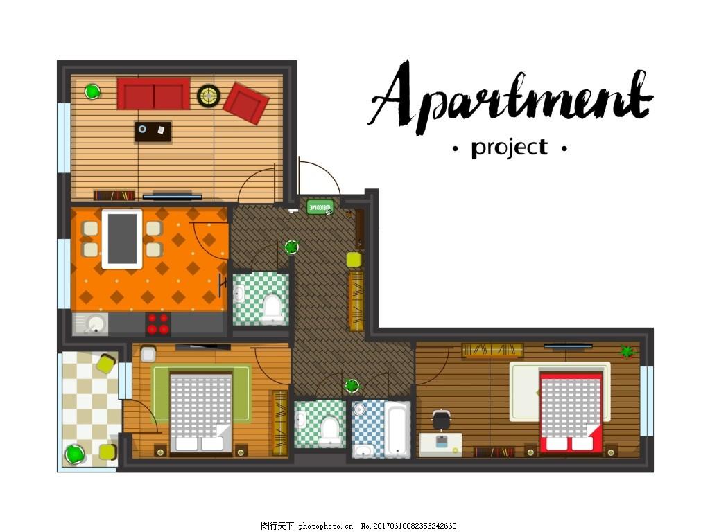 手绘田园风家居装修布置矢量 房间 俯视 模拟人生 卡通 家具 装修