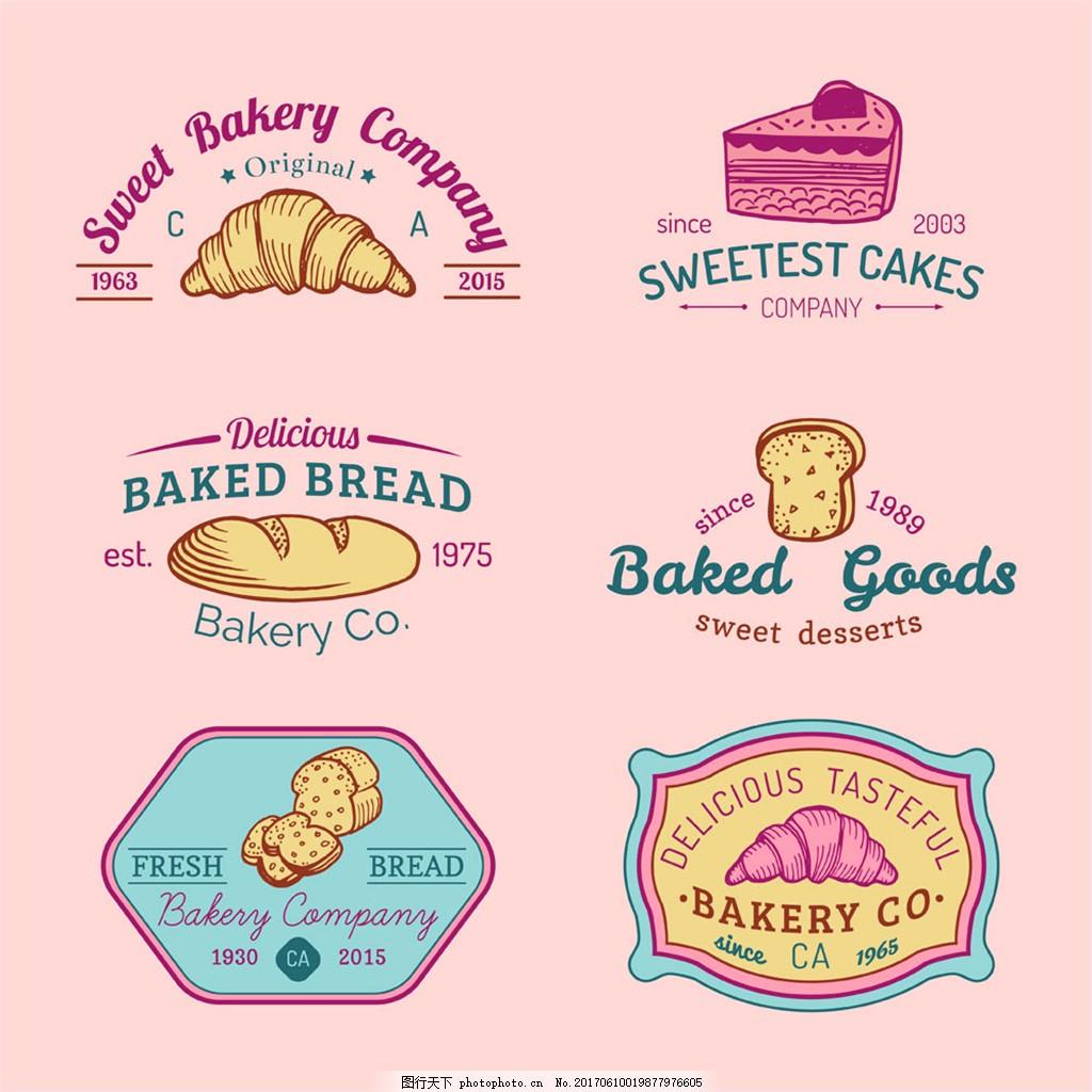 手绘彩色面包英文标志图片