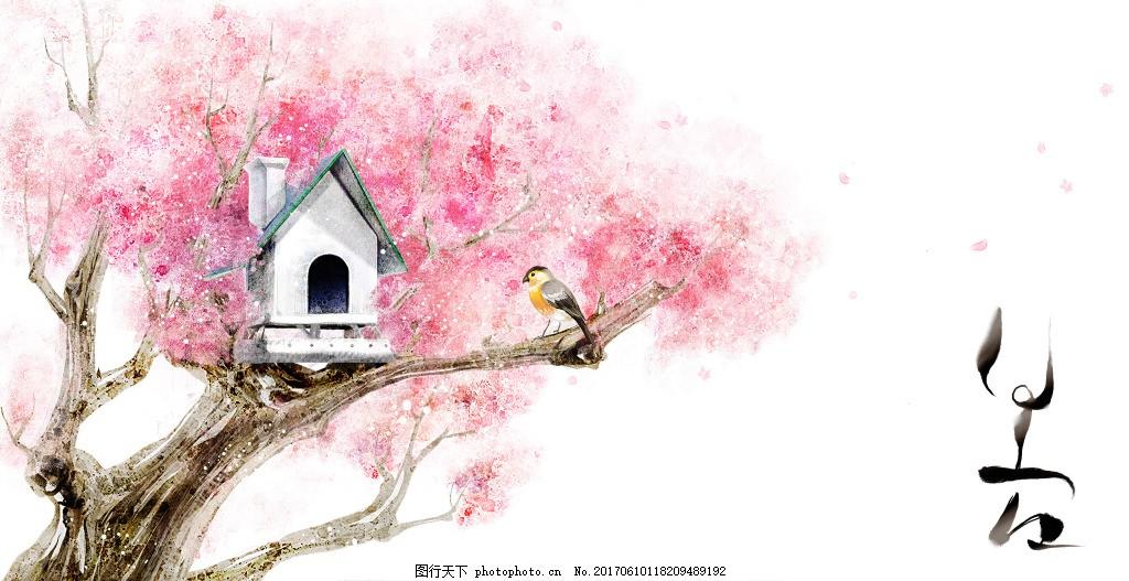 树叶手绘房子背景