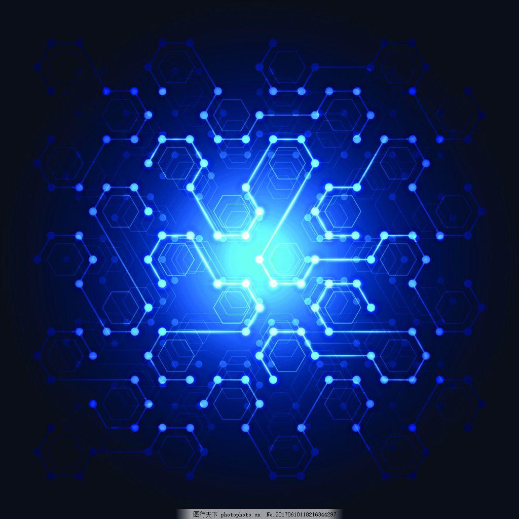 蓝色发光电路科技矢量背景