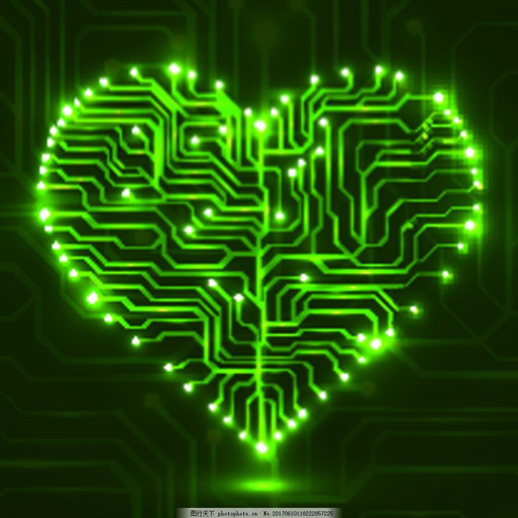 绿色爱心科技电路板ppt背矢量素材 爱情 绿色 电路板 发光 矢量 卡通