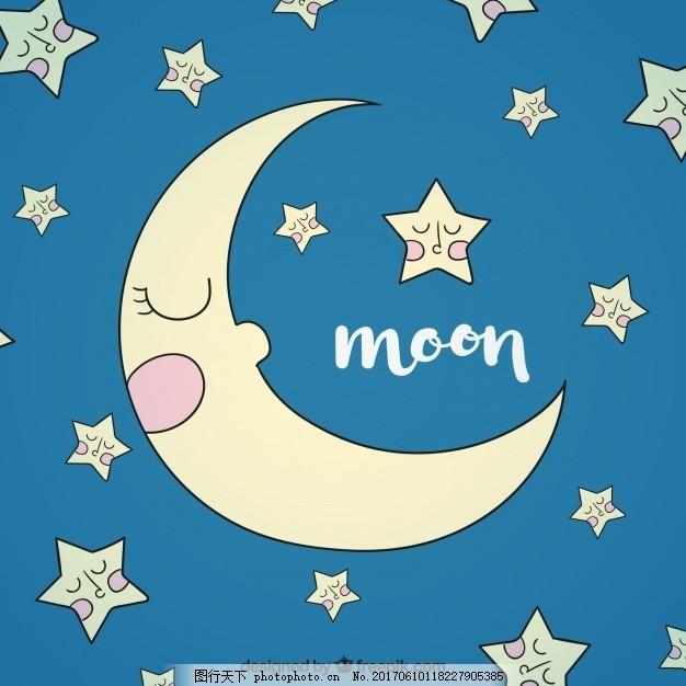 手绘月亮和星星的美丽背景
