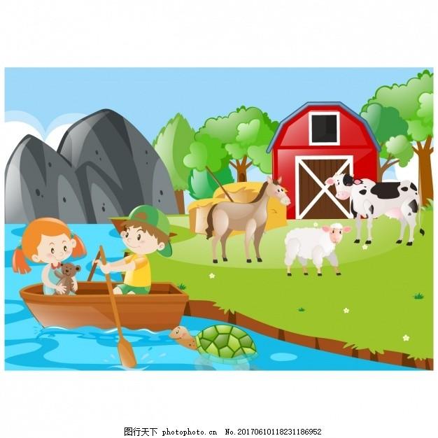 农场背景设计 儿童 自然 动物 壁纸 风景 颜色 蔬菜 马牛