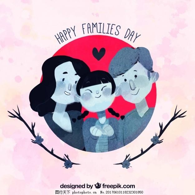可爱的背景与幸福的家庭水彩风格 人 母亲节 水彩背景 庆祝 快乐