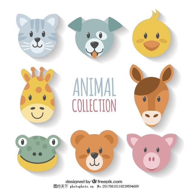 几何动物的脸 设计 几何 狗 动物 猫 脸 可爱 颜色 马 扁 装饰 猪