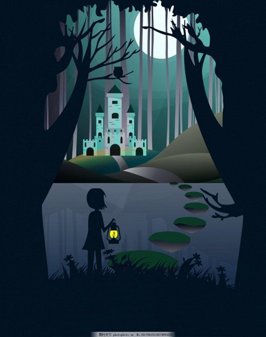 梦想漂亮森林小河背景图 广告 背景素材 免费下载 大树 城堡 圆月